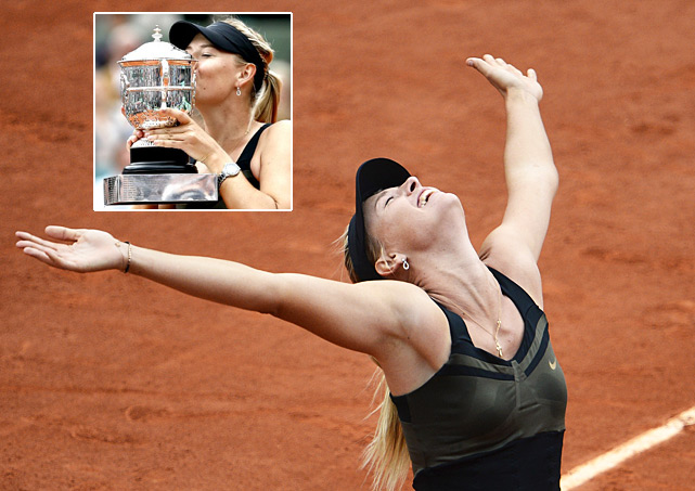 "Self-described as a ""Cow on ice"" when she plays on clay, No. 2-ranked Sharapova was one of the hottest players on the dirt coming into the French Open. Eight years since winning her first major, Sharapova's form continued right through the final, where she dropped Sara Errani 6-3, 6-2 to win the title and complete the career Grand Slam. Sharapova is now No. 1 for the first time since 2008 and grabbed her first major title in four years."