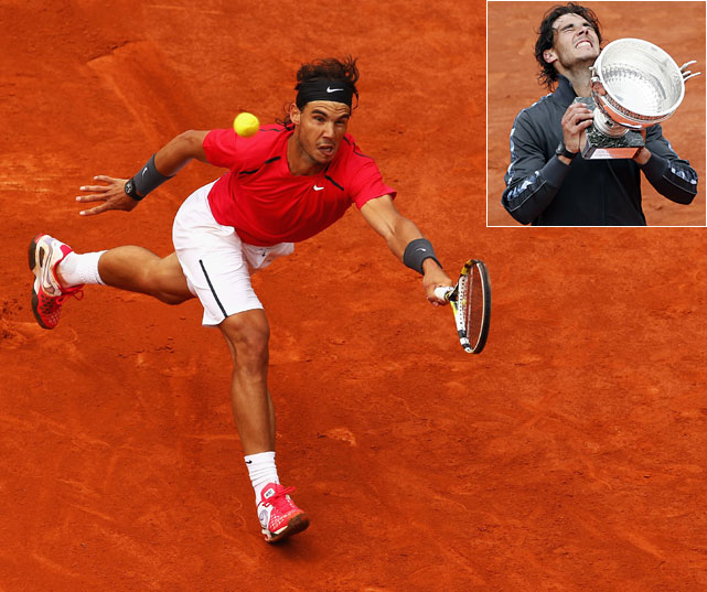 The undisputed King of Clay battled to a 6-4, 6-3, 2-6, 7-5 win over Novak Djokovic in the French Open final. It was the fourth straight Grand Slam final the two faced off in, and Nadal moved to an astonishing 52-1 at the French Open. With his seventh title, Nadal moved past Bjorn Borg to take sole possession of the record for most French Open titles.   Here's a look at some photos from 2012's second Grand Slam event.