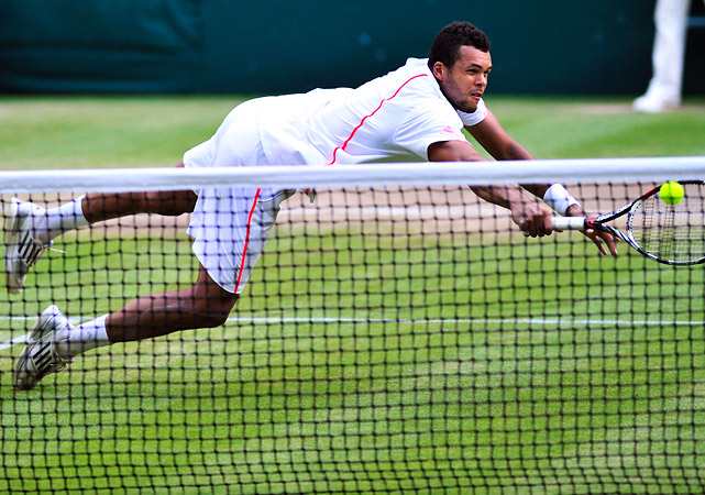 The enigmatic Frenchman returned to the Wimbledon semifinals, but couldn't get past Andy Murray. Tsonga hobbles out of Wimbledon after putting forth a valiant effort, diving for numerous volleys and getting hit by a Murray smash.