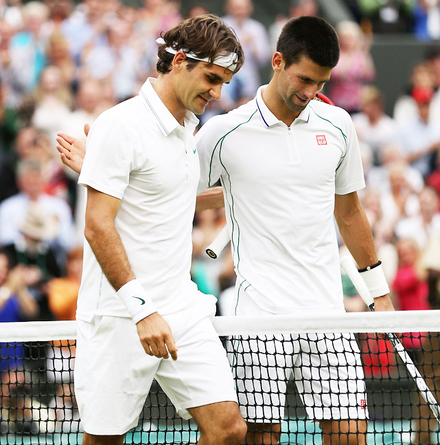 The top-ranked Serb could have secured his position atop the rankings with a win over Federer. Now, if Federer wins the title, Djokovic will drop to No. 2 for the first time in nearly a year. In the semis, Djokovic couldn't get his usually superb return going as Federer was serving lights out. His quest to defend his title came up just short with a 6-3, 3-6, 6-4, 6-3 loss to Federer.