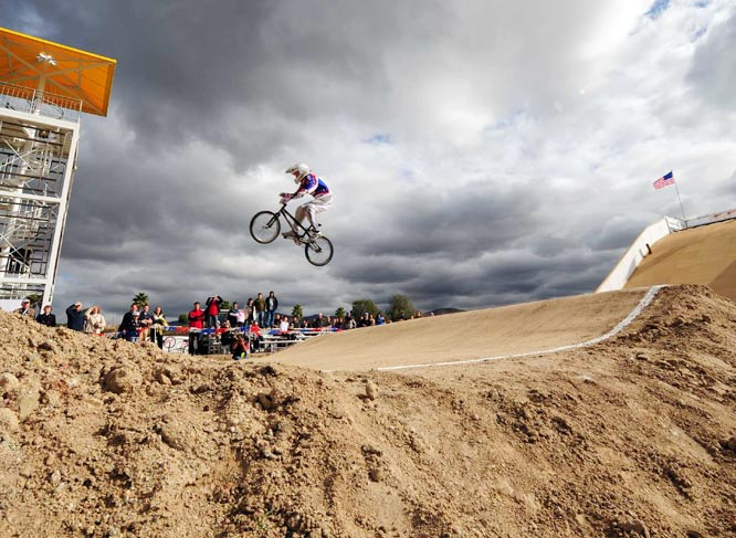 Olympic-bound BMX riders train on this supercross course just south of San Diego. This $500,000 run features a 30-foot start hill -- in comparison to the typical six- to 12-foot drop -- and a layout that allows for speeds up to 40 mph.