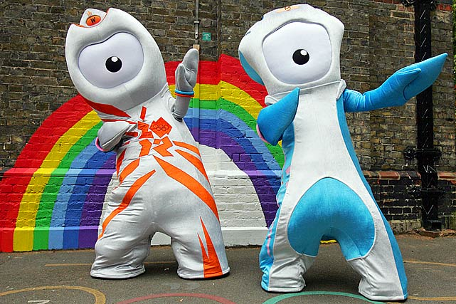 London 2012 Olympic Games mascot, Wenlock (left), and Paralympic mascot, Mandeville, strike a pose during their launch at St Paul's School, in east London on May 19, 2010.