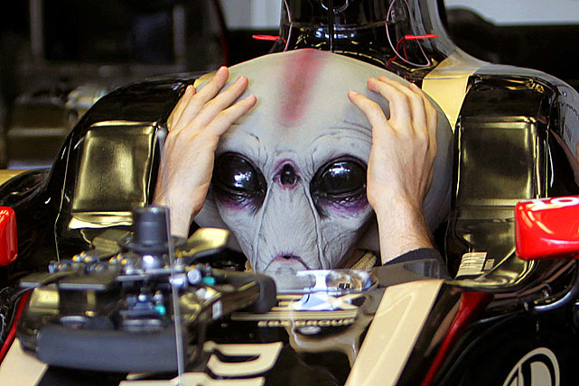 With it being the 65th anniversary of the Roswell 'UFO' crash, we take a look at aliens seen around sports.  Formula One driver Bruno Senna wears an alien mask as he tests his car at Interlagos racetrack in Sao Paulo, Brazil on Nov. 24, 2011.