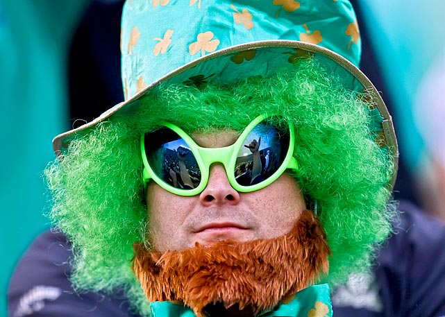A Notre Dame fan dresses up as an alien Fighting Irish during a game against Michigan on Sept. 11, 2010 in South Bend, IN.