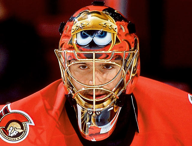 Senators goalie Patrick Lalime wears a mask with Marvin the Martian during a game against the Flyers on April 26, 2002 in Philadelphia.