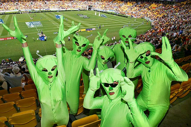 Rugby Sevens fans dressed as aliens pose in the stands during day two of the third round of the IRB International Sevens on Feb. 3, 2007 at Westpac Stadium in Wellington.