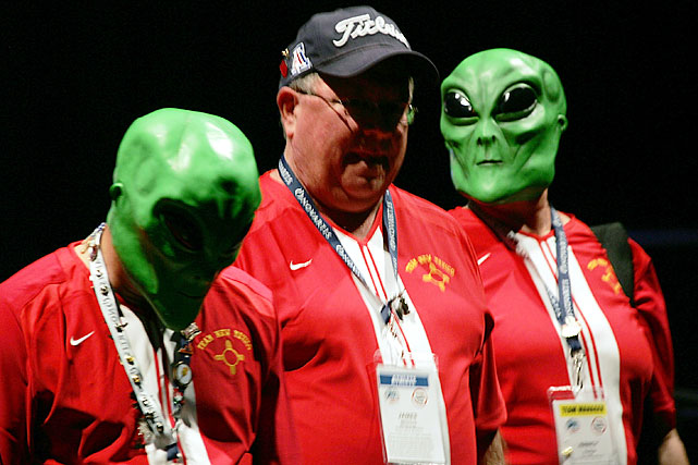 Transplant athletes and participants from the team from the state of New Mexico march wearing alien masks during the opening ceremonies on July 12, 2008 at the National Kidney Foundation U.S. Transplant Games at the David Lawrence Convention Center in Pittsburgh.