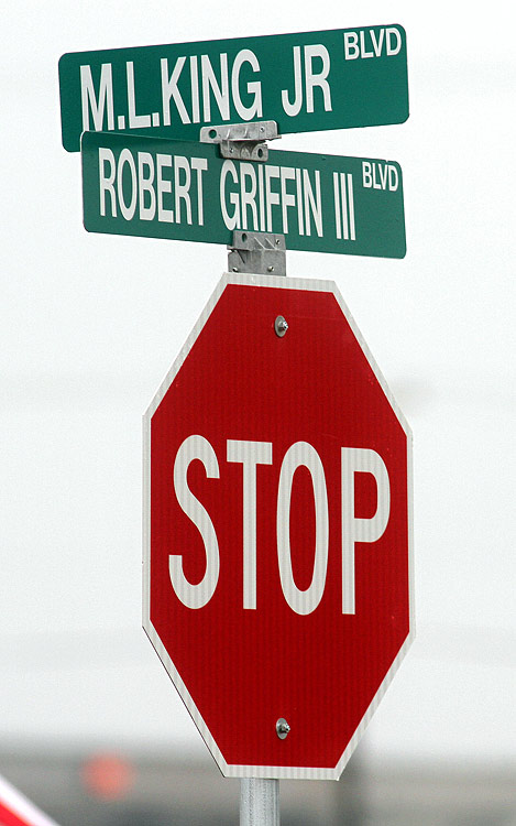 Officials in Robert Griffin III's high school town -- Copperas Cove, Texas --officially named a street in his honor on March 8, 2013. with Mayor John Hull declaring it Robert Griffin Day. Here are some other athletes who've been similarly honored.