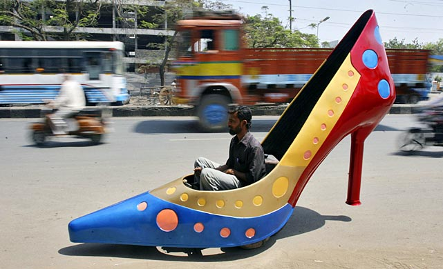 In honor of International Women's Day, a driver in the Indian city of Hyderabad tried this arresting set of wheels on for size. Designed by Sudhakar Yadav, it can reach a top speed of 28 miles per hour and may be just the ticket for attracting more ladies to Formula One racing. And, yes, it's equipped with a shoehorn.