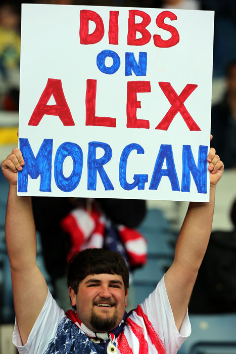 This president of the Alex Morgan Fan Club attends a USA-Colombia game during Day 1 of the Olympics.