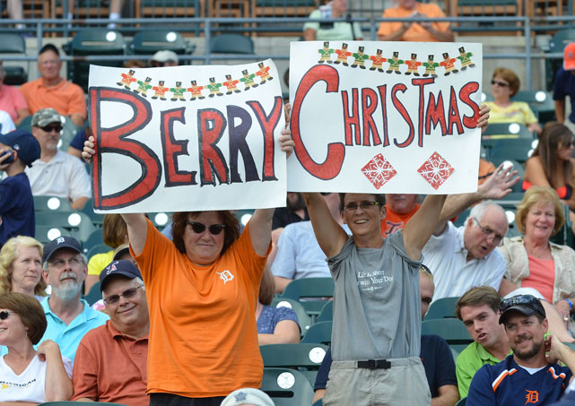 "Quintin Berry fans hold up a sign before the ""Christmas in July"" game against the Angels at Comerica Park."