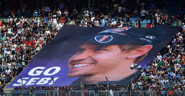 Fans unfurl a giant banner in support of Sebastian Vettel during the German Grand Prix in Hockenheim, Germany.