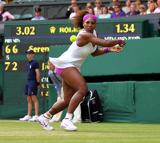 Serena Williams winds up for a backhand on June 30 at Wimbledon, where she rallied to defeat Zheng Jie 6-7 (5), 6-2, 9-7 the third-round match.