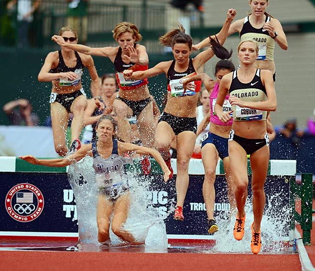 Emma Coburn (far right) easily won the women's 3,000-meter steeplechase during the U.S. Olympic trials on June 29. The 2011 national champion in the event, Coburn sealed her spot on Team USA with a time of 9:32.78. Collegiate teammate Shalaya Kipp, who finished third, will join Coburn in London.
