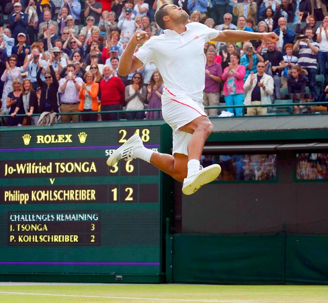 Frenchman Jo-Wilfried Tsonga jumps with joy after beating Philipp Kohlschreiber of Germany 7-6 (5), 4-6, 7-6 (3), 6-2 in the Wimbledon quarterfinal.  Tsonga would lose to hometown hero Andy Murray in the semifinals.