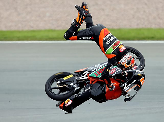 Finnish rider Niklas Ajo of the TT Motion Events Racing team gets thrown from his bike during the second training session of the Moto3 in Hohenstein-Ernstthal, Germany, on July 6.