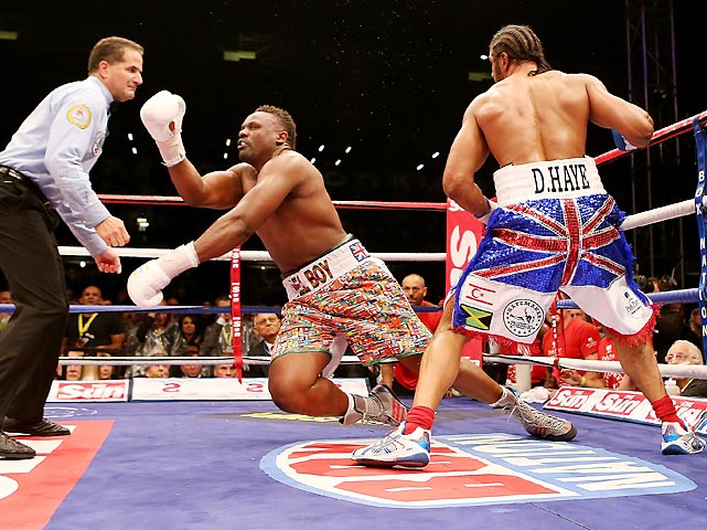 "David Haye, returning from retirement, knocked out Dereck Chisora during their WBO and WBA International Heavyweight Championship battle on July 14. The match was jokingly referred to as a ""rematch"" because Haye and Chisora went head-to-head earlier this year at a press conference."