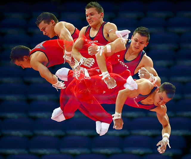 This multiple-exposure picture documents Jonathan Horton's training in the O2 center in London, prior to the Olympic kickoff.