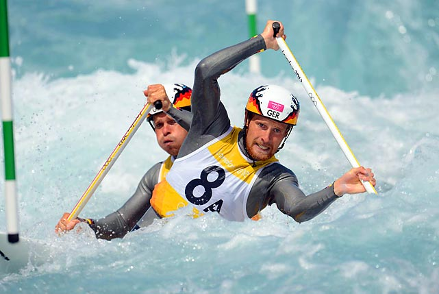 David Schroeder and Frank Henze of Germany compete in the men's canoe double slalom heats on Monday during Day 3 of the Olympics. The pair failed to qualify for the semifinal.