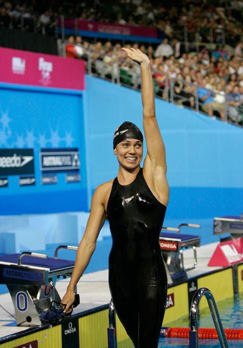 Coughlin celebrates after setting a world record in the 100m backstroke at the World Swimming Championships in Melbourne in March 2007.