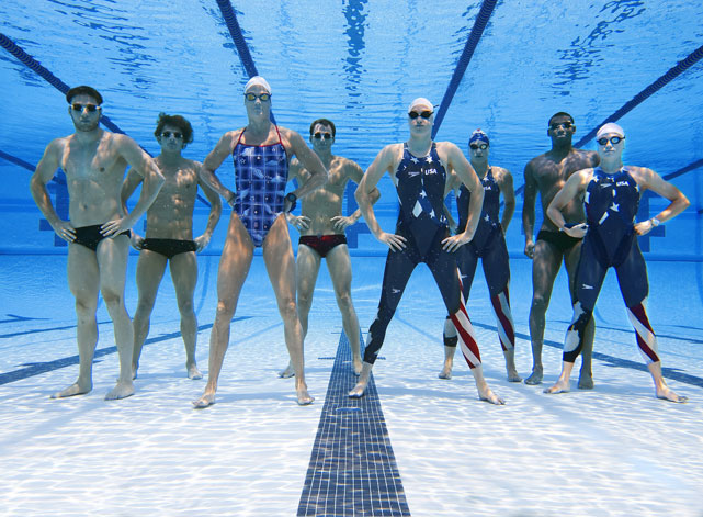 Coughlin (far right) poses with part of Swimming Team USA before the 2008 Olympics.