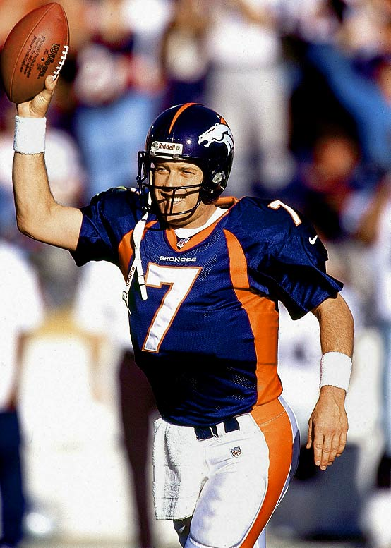 The personification of persistence. Elway lost the first three Super Bowls he appeared in before leading the Broncos to titles in 1997 and '98. He led Denver to a record 47 fourth-quarter comebacks.   Runner-up:   Ben Roethlisberger    Worthy of consideration:   Morten Andersen (New Orleans), Dutch Clark, George Halas, Mel Hein, Bert Jones, Dan Pastorini, Joe Theismann, Michael Vick, Bob Waterfield.