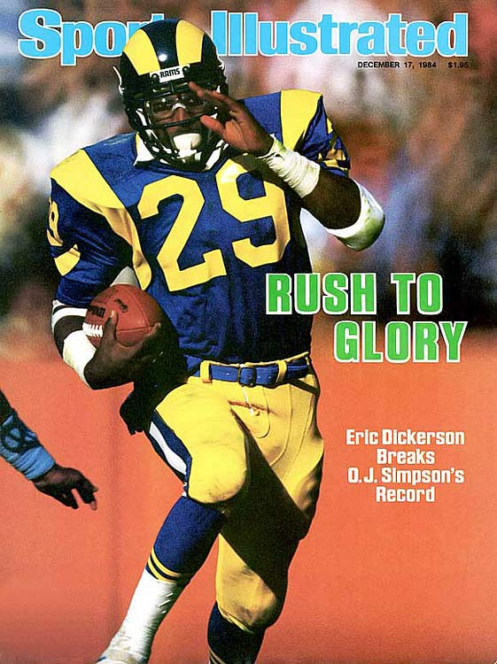 An electrifying open-field runner, Dickerson ran for an NFL-record 2,105 yards in 1984 and gained 1,800 or more rushing yards in three of his first four seasons. He was inducted into the Pro Football Hall of Fame in 1999.   Runner-up:   Alex Webster    Worthy of consideration:   Joseph Addai, Hanford Dixon, Albert Lewis, Sam Madison