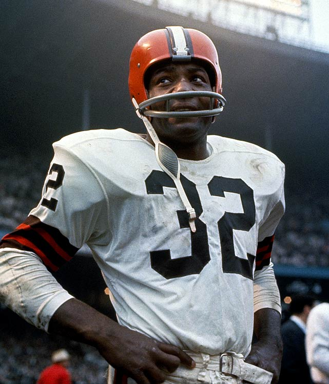 Many consider him the NFL's greatest player. Brown led the NFL in rushing for eight seasons and was the Most Valuable Player three times. He retired at 30 at the peak of his career.   Runner-up:   O.J. Simpson    Worthy of consideration:   Marcus Allen, Ottis Anderson, Jamal Anderson, Mike Curtis, Franco Harris, Jack Tatum, Ricky Watters, John L. Williams