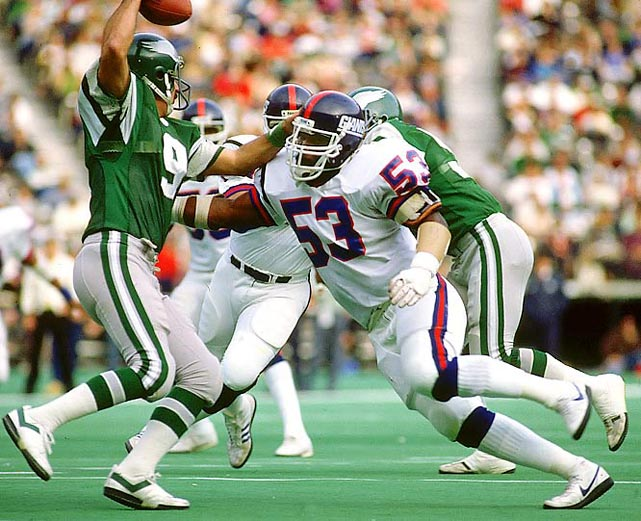 While Lawrence Taylor patrolled the outside for the Giants, Carson clogged up the run at middle linebacker. He was a nine-time Pro Bowl selection and earned Hall of Fame honors in 2006.   Runner-up:   Randy Gradishar    Worthy of consideration:   Jeff Bostic, Ray Donaldson, Mick Tingelhoff, Alex Wojciechowicz, Jim Youngblood