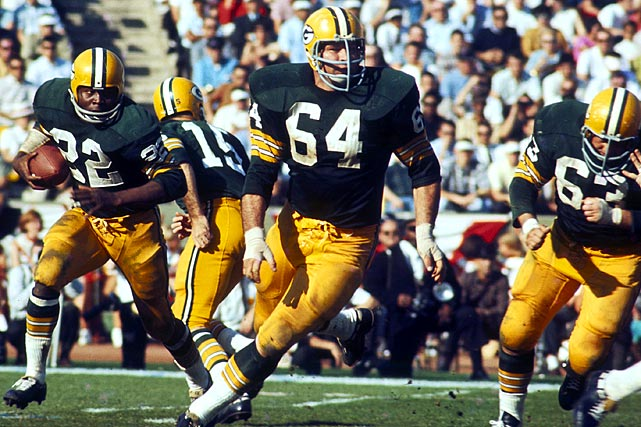 The Packer guard might have thrown the most famous block in NFL history, opening a hole for Bart Starr's game-winning sneak in the famed Ice Bowl (the 1967 NFL championship).     Runner-up:   Randall McDaniel    Worthy of consideration:   Jim Burt, Ken Gray, Jack Reynolds