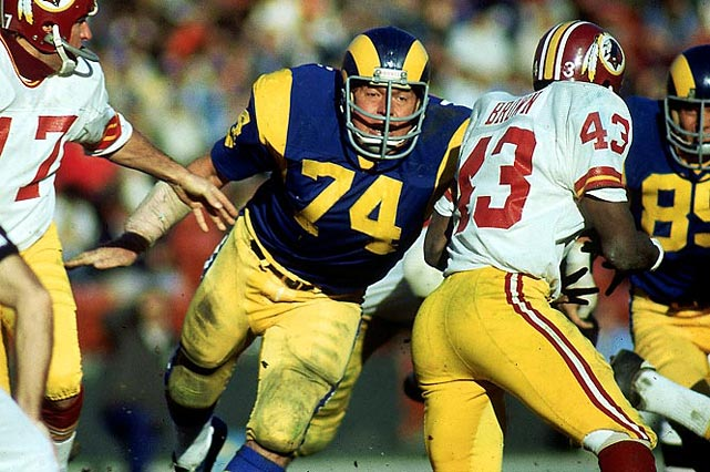 Before he became an actor and commercial pitchman, Olsen terrorized quarterbacks during his 15-year-career with the Rams and played in 14 straight Pro Bowls.     Runner-up:   Bob Lilly    Worthy of consideration:   Bruce Matthews, Fred Dean, Henry Jordan, Louie Kelcher, Bob Lilly, Ron Mix, Mike Reid