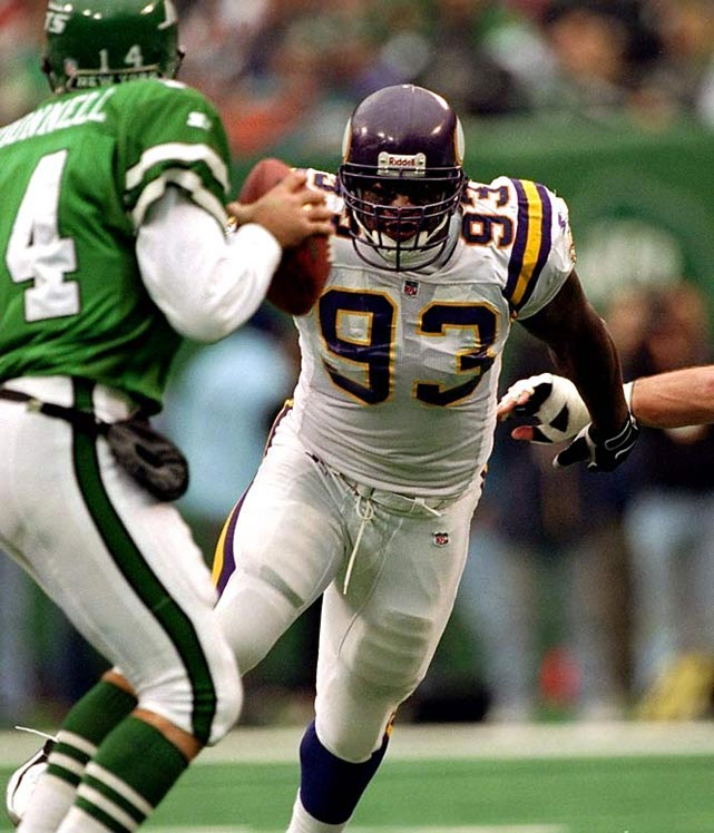 Randle tortured offensive lineman during his 14 seasons as a Viking (1990-2000) and Seahawk (2001-03). He finished with 137.5 sacks and was a seven-time pro Bowl election.   Runner-up:   Dwight Freeney    Worthy of consideration:   Trace Armstrong, Jerry Ball, Gilbert Brown, Kevin Carter, Richard Seymour, Greg Townsend