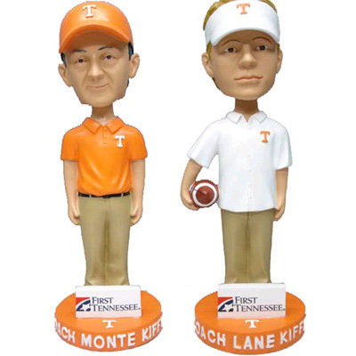 In one of the few father-son bobbleheads in existence, former Tennessee head coach Lane Kiffin and his father, defensive coordinator Monte Kiffin, are honored by the Vols.