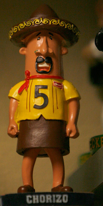 One of the Milwakee Brewers mascots, The Chorizo, is given the bobblehead treatment.