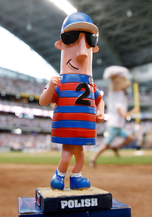 A polish sausage bobblehead makes an appearance at a 2008 Brewers-Orioles game in Milwaukee.