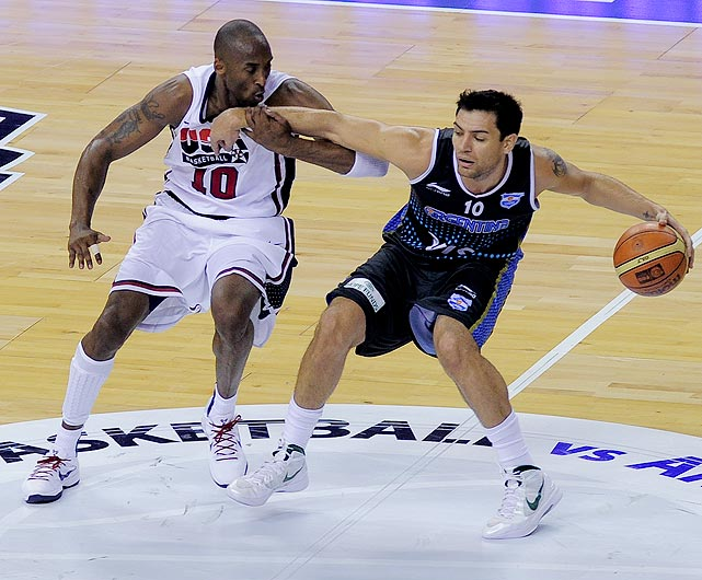 Milwaukee Bucks swingman Carlos Delfino (right) scored 15 points for Argentina in the losing effort.