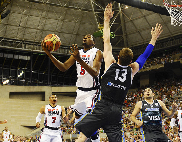 Kevin Durant burned Argentina from the inside and outside during the exhibition, scoring 27 points, 21 of which came via the three-pointer.