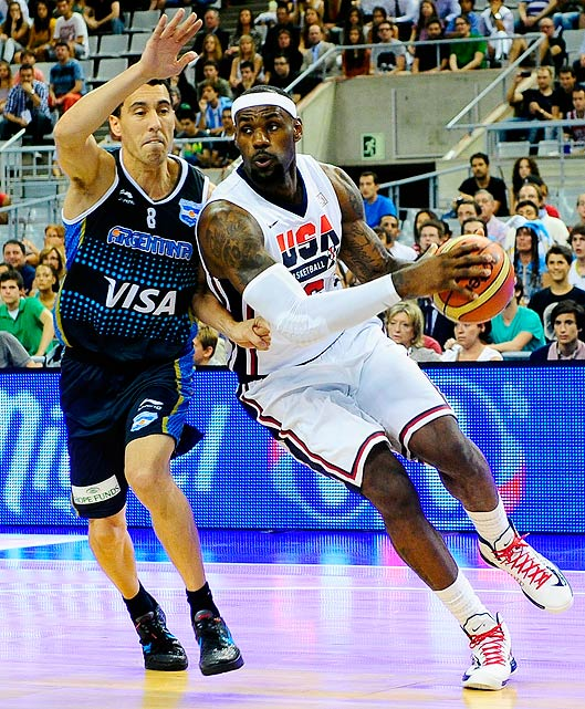 "LeBron James' all-around game was on display against Argentina. The Miami Heat forward tallied 15 points, seven rebounds and five assists, and said he was pleased with the narrow victory. ""I love it,"" he told the  Associated Press . ""You hate to breeze through exhibition games and then you get into London, and then you start getting competitive."""