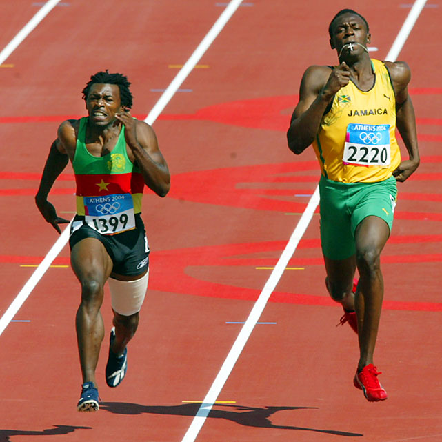 Before he turned in super-human performances at the Beijing Olympics, Bolt was quite pedestrian at the Athens Games. He was eliminated in the heats of the 200 meters, running a 21.05 (with a snail-like .254 reaction time) while hampered by a leg injury. Four years later, Bolt ran a world-record 19.30.
