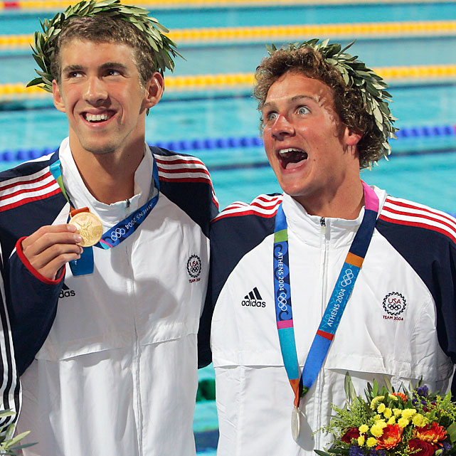 Lochte won gold and silver in his first Olympics, both in races involving Michael Phelps. He got the gold first as part of the 4x200 free relay team, opening up a body-length lead on Michael Klim on his leg, and came in second to Phelps in the 200 individual medley. Lochte said his big mistake at the Athens Games was eating three meals a day at McDonald's.