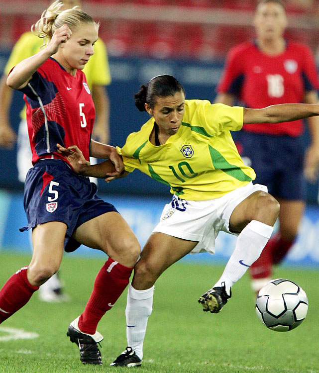 Marta won FIFA Player of the Year honors five straight years. But that came two years after she made her first Olympic appearance. She scored three goals in the 2004 tournament as an 18-year-old, helping Brazil to silver. Marta and Brazil suffered the same result in 2008, second again to the U.S., and also were eliminated by the Americans at the 2011 World Cup.