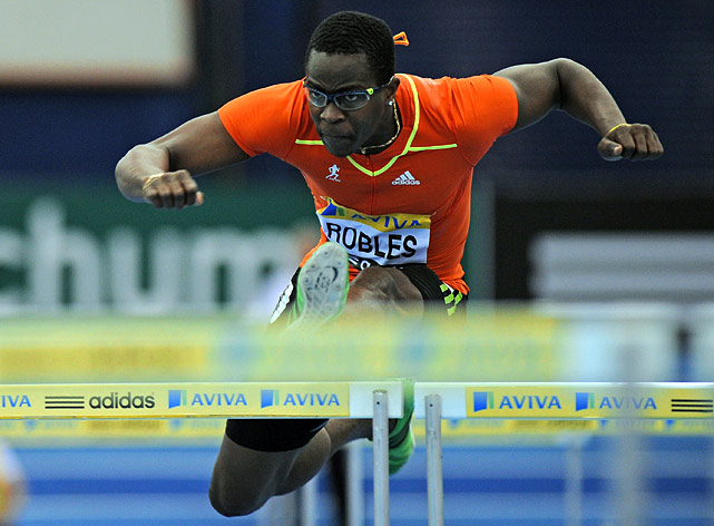 The 25-year-old Cuban set the world record in the 110-meter hurdles in 2008 with a time of 12.87 seconds.  He won the gold at the Beijing Olympics in 12.93 seconds, but will face stiff competition from China's Liu Xiang in London this year.
