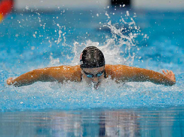 Dana Vollmer of the U.S. set a word record of 55.98 seconds while winning the gold medal in the 100-meter butterfly.