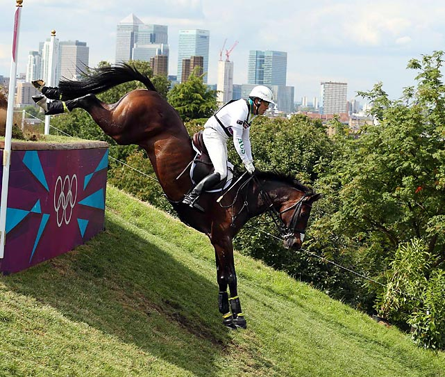 Andrew Hoy of Australia  and horse Rutherglen took things over the top on their way to a 15th-place finish in the cross-country portion of the equestrian individual eventing competition at Greenwich Park.