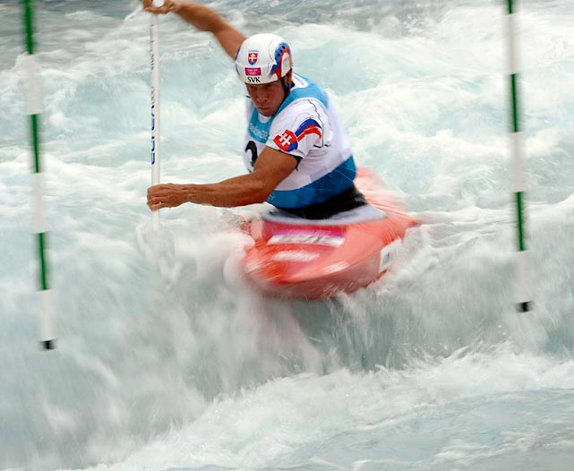 Paddling in his fifth Olympics, Michal Martikan of Slovakia pulled in a bronze in the men's canoe single to add to his golds from Atlanta and Beijing and silvers from Sydney and Athens.