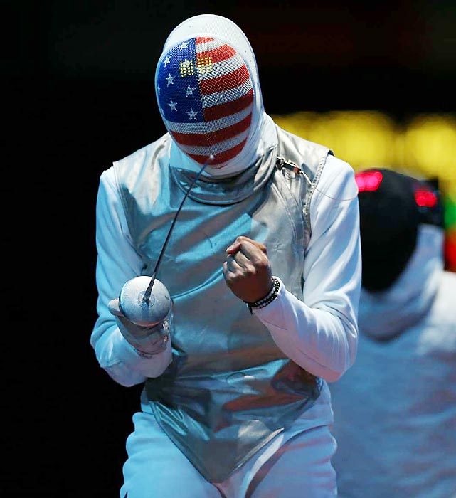 Miles Chamley-Watson of the U.S. was seeing stars (and stripes) during a loss in his round-of-32 individual foil match against Egypt's Alaaeldin Abouelkassem.