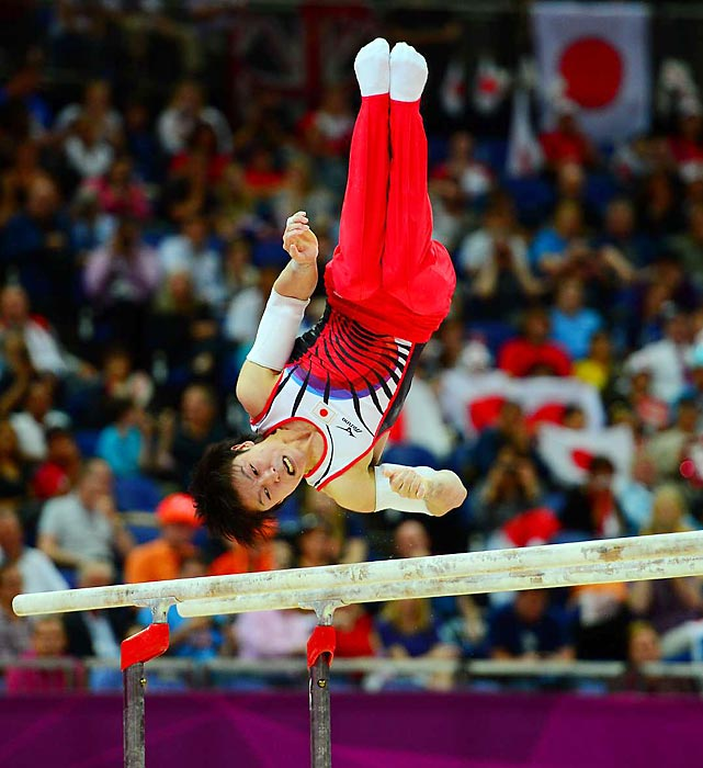 Japan's Kohei Uchimura, the three-time world all-around champion who is considered by many the greatest male gymnast ever,  took flight over the field to win his first Olympic all-around gold.