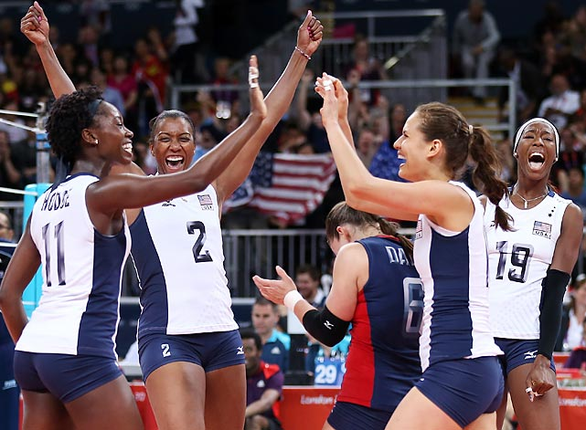 U.S. players celebrate their win over China during at Earls Court.