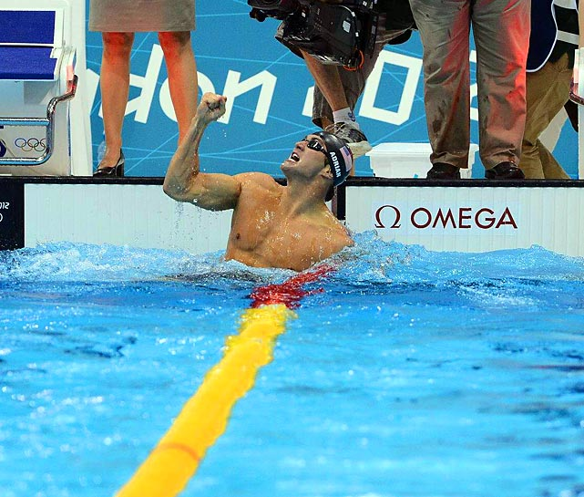 Nathan Adrian of the U.S. put a punch into celebrating his victory -- by one hundredth of a second -- over Australia's James Magnussen in the 100-meter freestyle.  The win gave Adrian the first individual Olympic gold of his career.