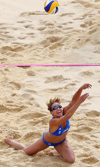 Vasiliki Arvaniti of Greece dives for the ball during a 2-0 loss to China.